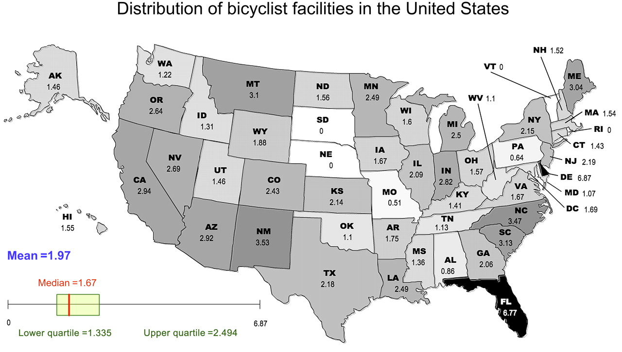 Bicyclist Deaths And Striking Vehicles In The USA Injury Prevention - Usa map with states abbreviations